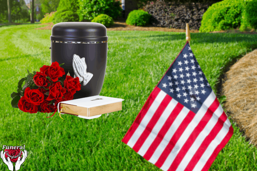 urn on grass with USA flag