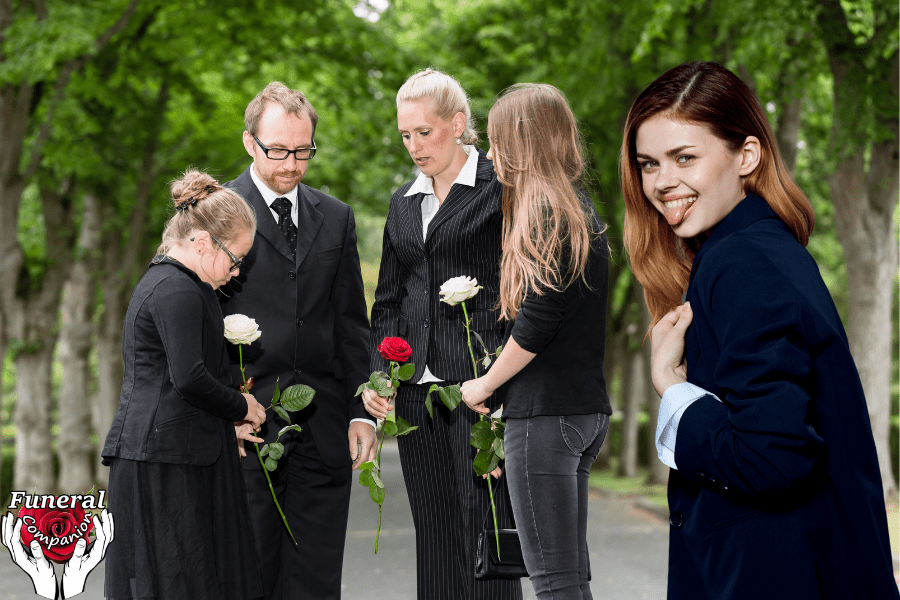 Girl laughing at a funeral