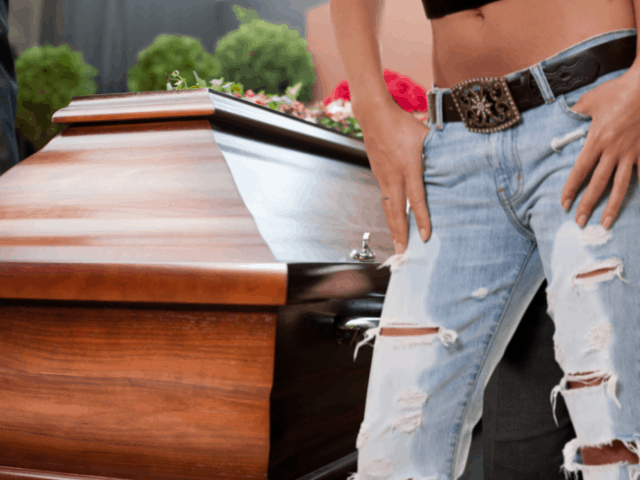 wearing ripped jeans next to casket