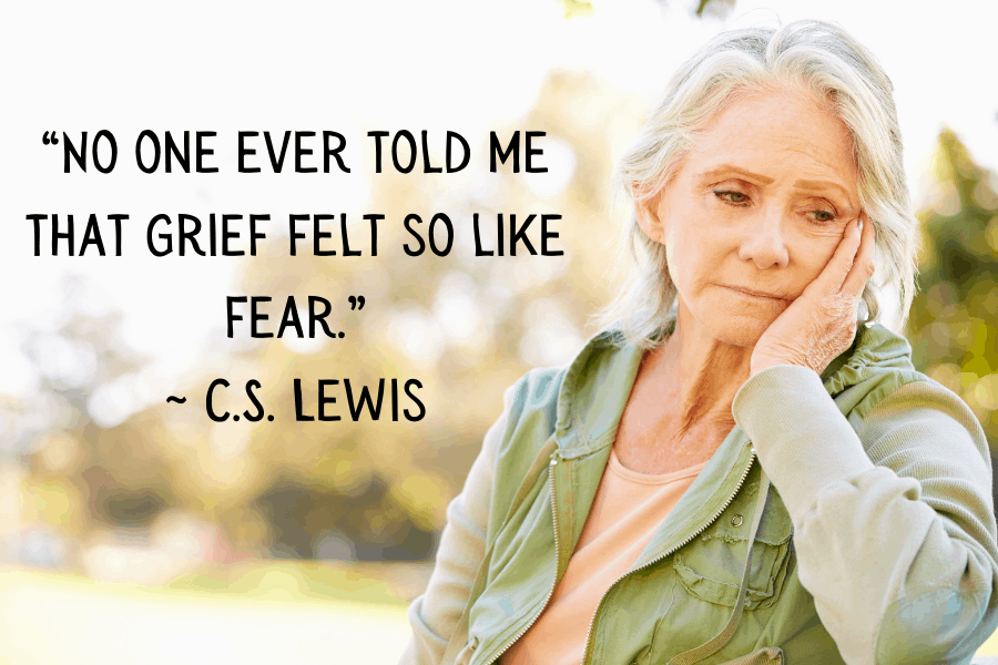 """""""No one ever told me that grief felt so like fear.""""  ~ C.S. Lewis"""