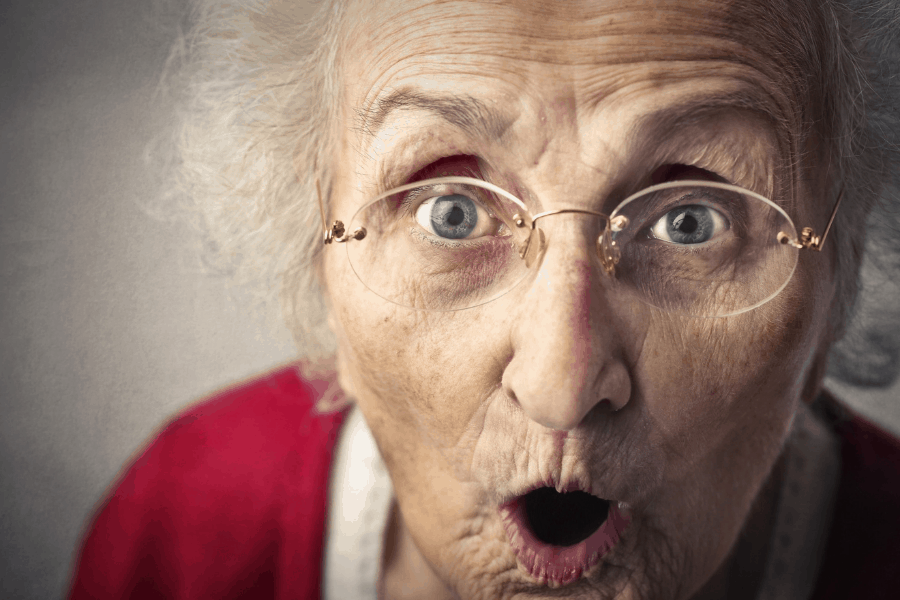 shocked old woman